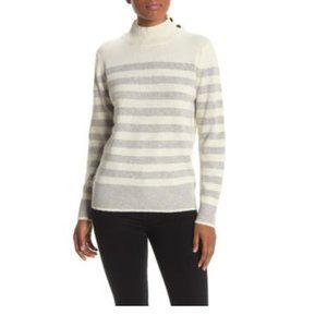 Magaschoni Striped Wool Blend Cowl Neck Sweater